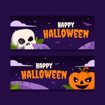 Set di banner di halloween piatto orizzontale disegnato a mano