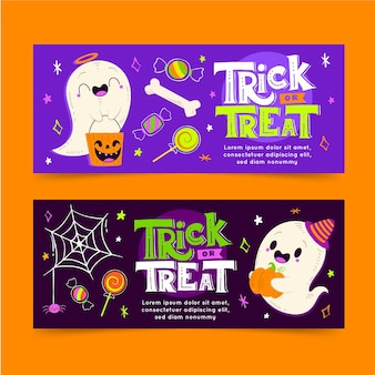 Hand drawn flat horizontal halloween banners set