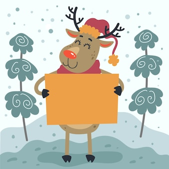 Hand drawn flat illustration of christmas character holding blank banner