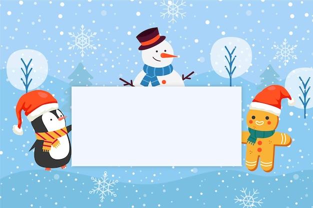 Illustrazione piatta disegnata a mano di personaggi natalizi che tengono banner bianco