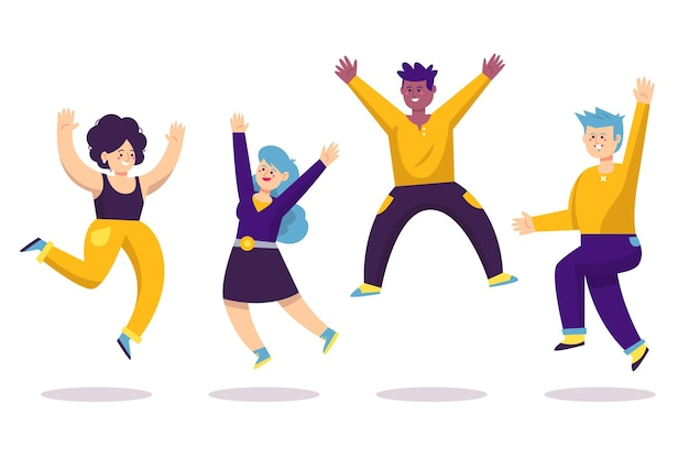 Hand drawn flat illustration of happy people jumping