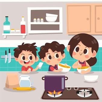 家族のシーンの手描きフラットイラスト