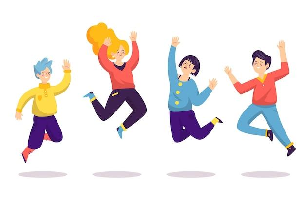 점프하는 행복한 사람들의 손으로 그린 평면 그림