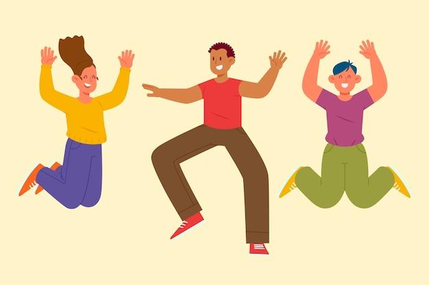 ジャンプする幸せな人々の手描きフラットイラスト