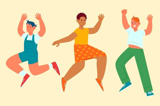 Нарисованная рукой плоская иллюстрация счастливых людей прыгает