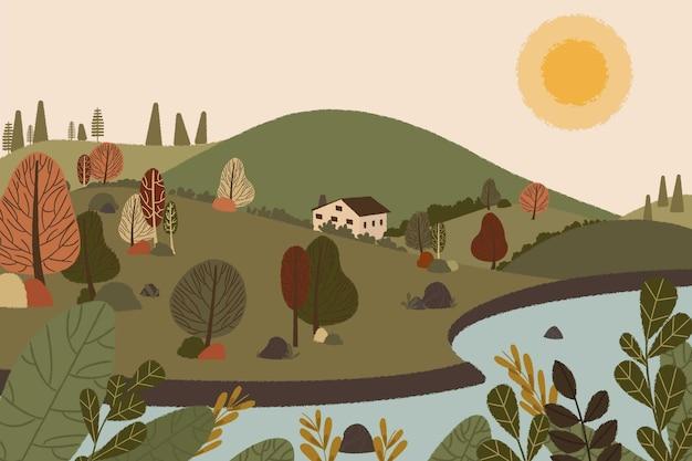 Нарисованная рукой плоская иллюстрация пейзажа
