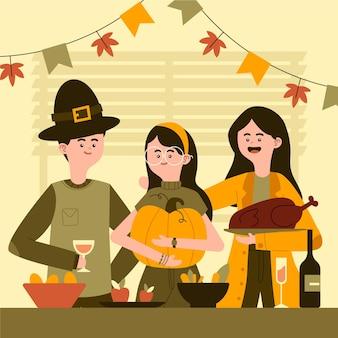感謝祭を祝う人々の手描きの平らなイラスト