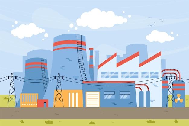 発電所の手描きフラットイラスト