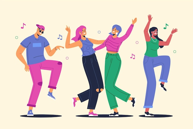 Hand drawn flat illustration of people dancing Free Vector