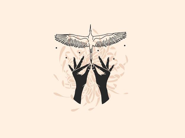 Нарисованная рукой плоская иллюстрация с птицей журавля и руками.