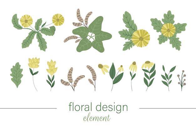 Ручной обращается плоская иллюстрация с цветами и листьями