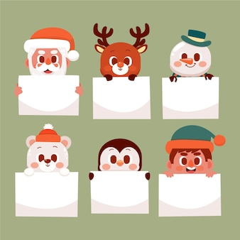 Hand drawn flat illustrations of christmas characters holding blank banner