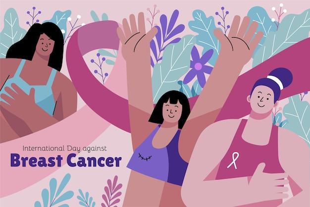 乳がんの背景に対して手描きフラット国際日