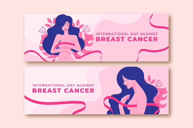 Hand drawn flat international day against breast cancer horizontal banners set