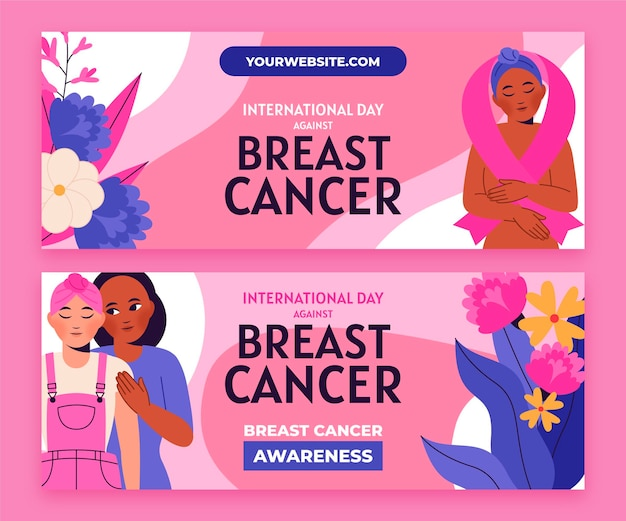 Set di banner orizzontali piatti disegnati a mano per la giornata internazionale contro il cancro al seno
