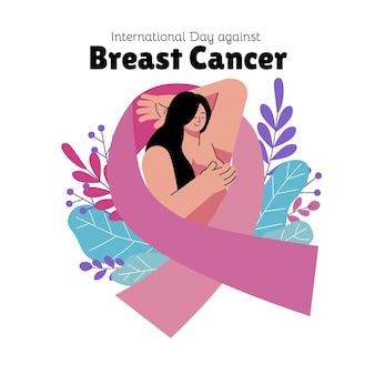 유방암 그림에 대한 손으로 그린 평평한 국제의 날