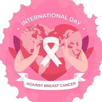 乳がんのイラストに対して手描きフラット国際日
