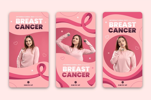 Hand drawn flat international day against breast cancer instagram stories collection with photo