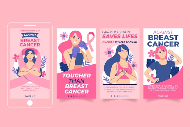 Hand drawn flat international day against breast cancer instagram stories collection