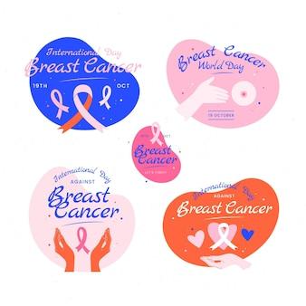 유방암 라벨 컬렉션에 대한 손으로 그린 평평한 국제의 날