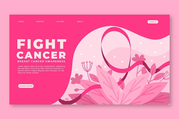 Hand drawn flat international day against breast cancer landing page template