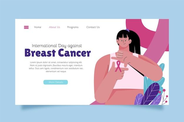 乳がんのランディングページテンプレートに対する手描きのフラット国際デー