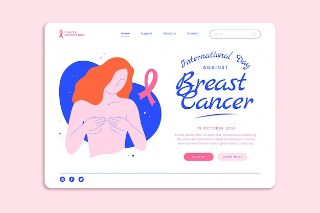유방암 방문 페이지 템플릿에 대한 손으로 그린 플랫 국제의 날