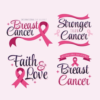 Hand drawn flat international day against breast cancer lettering labels collection