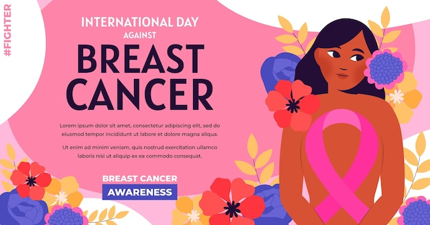Giornata internazionale piatta disegnata a mano contro il modello di post sui social media del cancro al seno