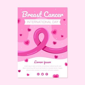 乳がんの垂直チラシテンプレートに対して手描きフラット国際日