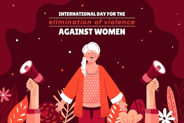 Hand drawn flat international day for the elimination of violence against women background