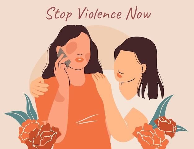 Giornata internazionale piatta disegnata a mano per l'eliminazione della violenza contro lo sfondo delle donne