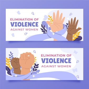 Hand drawn flat international day for the elimination of violence against women horizontal banners set