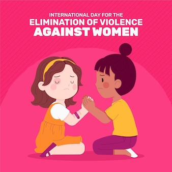 Hand drawn flat international day for the elimination of violence against women illustration