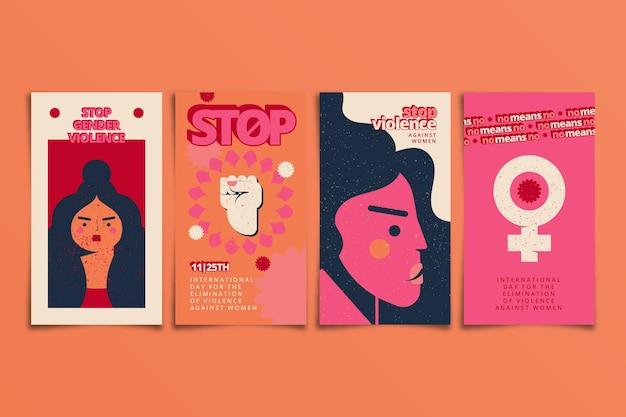 Giornata internazionale piatta disegnata a mano per l'eliminazione della violenza contro le donne raccolta di storie su instagram