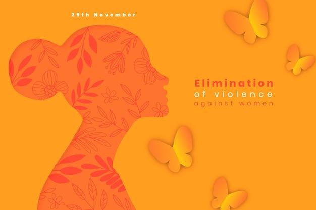 여성 배경에 대한 폭력을 제거하기 위한 손으로 그린 평평한 국제의 날