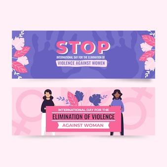 Ручной обращается плоский международный день борьбы за ликвидацию насилия в отношении женщин, набор горизонтальных баннеров