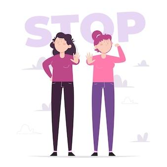 女性に対する暴力撤廃のための手描きのフラットな国際デーイラスト