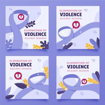 女性に対する暴力撤廃のための手描きのフラットな国際デーinstagramの投稿コレクション