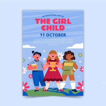Hand drawn flat international day of the girl child flyer template