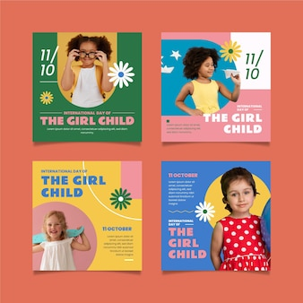 Hand drawn flat international day of the girl child instagram posts collection with photo Free Vector