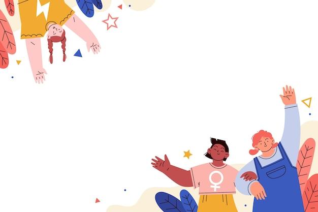 여자 아이 배경 손으로 그린 평면 국제 날