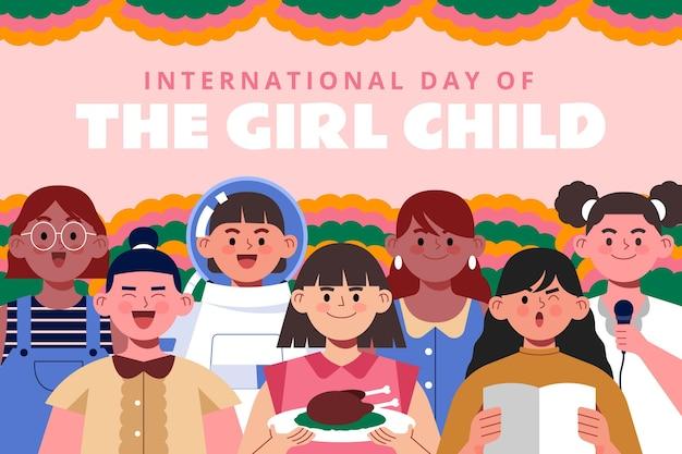 女児背景の手描きフラット国際デー