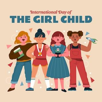女児イラストの手描きフラット国際デー