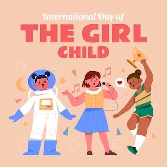 Нарисованная рукой плоская иллюстрация международного дня девочек