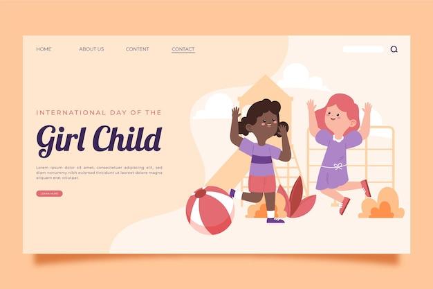여자 아이 방문 페이지 템플릿의 손으로 그린 플랫 국제 날