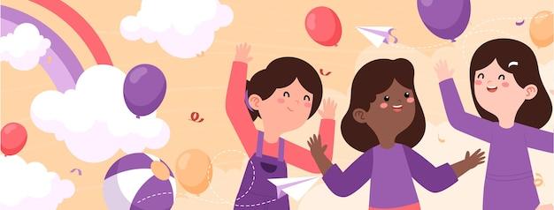 女児ソーシャルメディアカバーテンプレートの手描きフラット国際デー