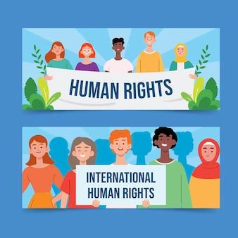 手描きフラット国際人権デー水平バナーセット