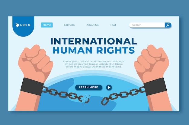 手描きのフラットな国際人権デーのランディングページテンプレート
