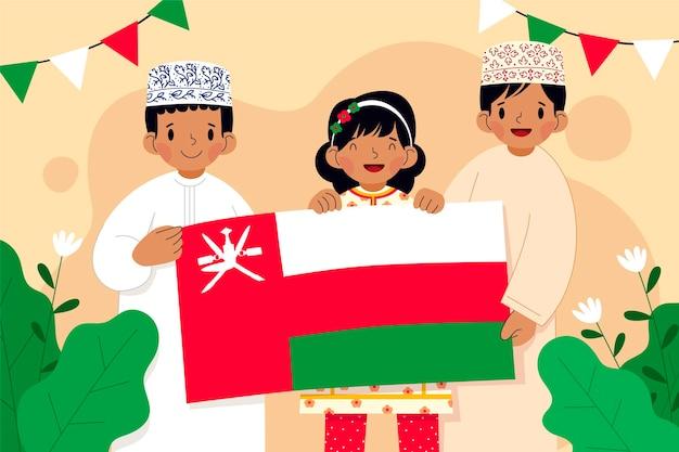 Giornata nazionale piatta disegnata a mano dell'oman sfondo